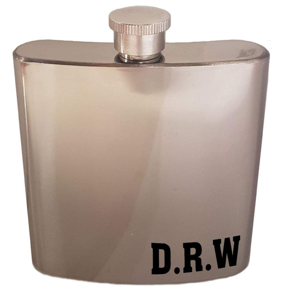 6oz Personalised Initial's Novelty Stainless Steal Gift Hip Flask
